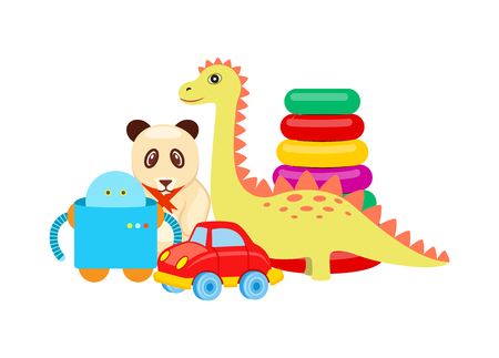 Panda and dinosaur set, collection with toys, circles and robot, car and items for children, vector illustration isolated on white background Illustration