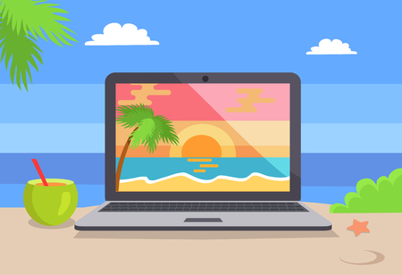 Open notebook picture of tropical sunset at coastline, standing on beach near cocktail vector distant freelance work conceptual background sea view