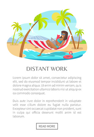 Distant work web poster woman lying on hammock with notebook, tropical landscape, freelancer and palm trees, mountains on backdrop freelance concept vector