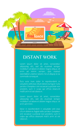 Distant work leaflet poster open notebook on tropical beach with text freelance on screen, summer cocktail with straw, sun-bed under umbrella, summertime Иллюстрация