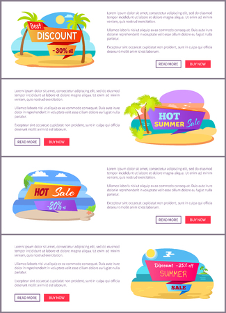 Hot summer sale web pages set with sample text. Tropical beaches on deal promotional banners. Best discount at online shop vector illustrations set