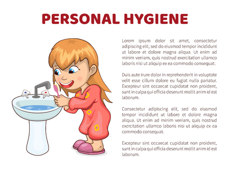 Personal hygiene vector illustration poster with girl cleaning teeth in water sink, kid woman washes in morning or evening Stock Illustratie