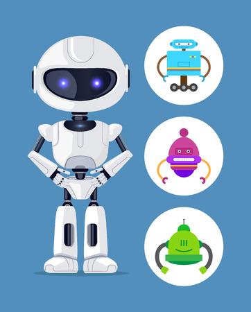 Droid standing calmly, collection of icons with robots having same pose, designed creature scientific element vector illustration, isolated on blue