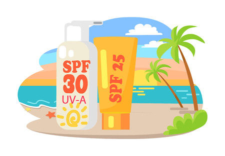 Protective suntan cream and lotion commercial. Dawn at beach with tall palms and big shiny tubesisolated vector illustration Illustration