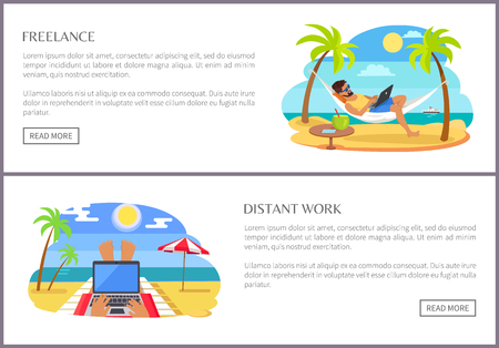 Freelance and distant job promo Internet pages. People work on laptop right at beach web banners. Convenient environment vector illustration 向量圖像