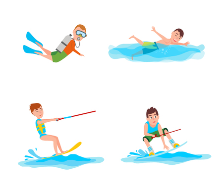 Summer collection of activities, scuba diving and swimming boy, kitesurfing and summertime activities and sport vector illustration isolated on white background Vectores