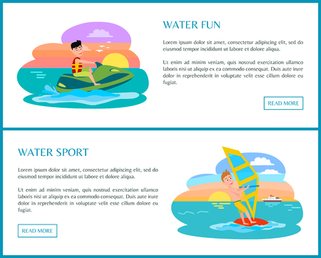 Water fun sport, color banner, vector illustration, beauty sunset and cute clouds, wind surf and scooter, cheerful surfer, text and buttons