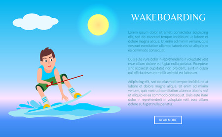 Wakeboarding web poster with kitesurfing boy holds hoop and stands on board, sport activity vector illustration on blue sea background Illustration