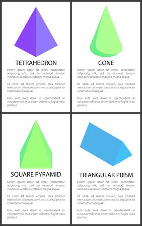 Tetrahedron Cone Square Pyramid Triangular Prism Illustration