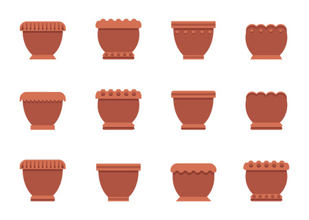 Capacious flower pots of clay and plastic set. Containers to grow indoor plants. Housepot for room herbs isolated vector illustrations collection