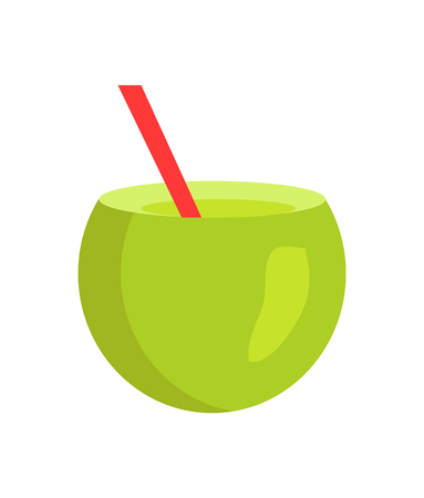 Fresh summer cocktail in cute cut green coconut, vector illustration isolated on white background refreshing cool fruit with red straw for exotic drinks Illustration