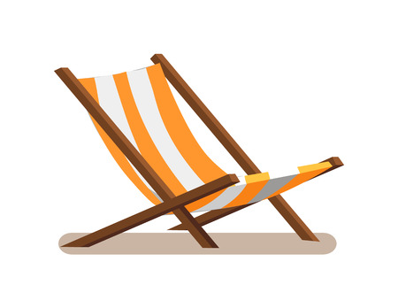 Hängemattenstuhl mit Streifen, Loungesitz der gelben und weißen Farbe, hölzerne leere Sonnenliege Chaiselongue lokalisiert auf Vektorillustration, Tagesbettikone