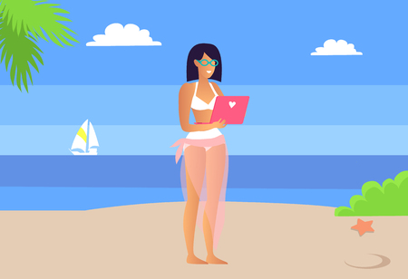 Freelancer woman and sailboat, girl wearing swimming suit holding laptop, freelance at exotic country, advantages of distant work conceptual vector Illusztráció