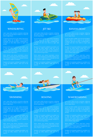 Windsurfing and jet ski posters collection, banana boat and swimming, boating and wakeboarding, set vector illustration isolated on blue background