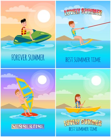 Forever lovely summer, colorful cartoon banner, vector illustration, watercraft and windsurfer, rowing girl and kitesurfing man, summertime poster Ilustração