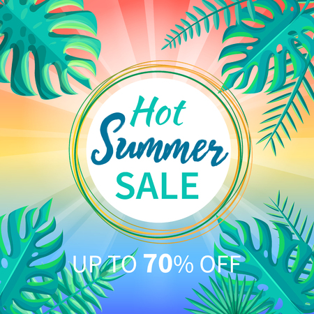 Hot summer sale up to 70 off tropical paradise advertisement poster palm trees, exotic green plants vector promo with round circled frame