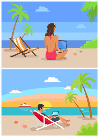 Man and woman freelance collection, people working with laptops, set freelancers by seaside, work place at coastline isolated vector illustration