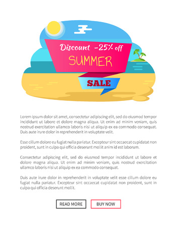 Discount 25 off summer sale web poster with push buttons, adverisement label on coast line, sea shore with water and sand, deal banner concept vector Stock Illustratie