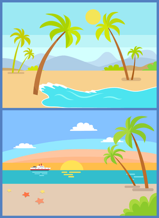 Coastline seaview poster with tropical beach, sea sand palm trees, mountains and sunset or sunrise ship on background, exotic island vector coast