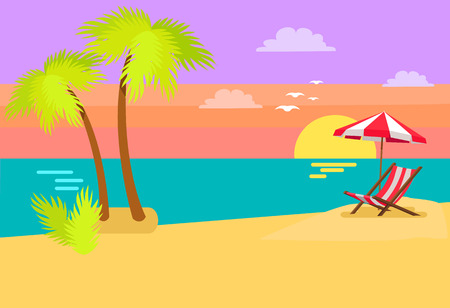 Seashore coastal view tropical beach, sea sand and palm trees, sunset or sunrise, umbrella and sunbed tropics island vector coast summer background Ilustração