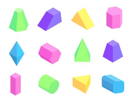 Colección de prismas de diferentes formas sobre fondo blanco, tetraedro octaedro cilindro cuboide pentagonal y pirámides cuadradas ilustración vectorial