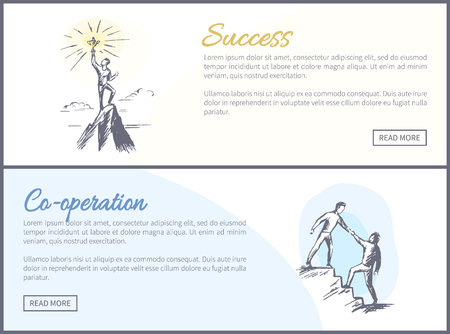 Success co-operation web sites text easy to edit and buttons, set of online successful teambuilding posters vector illustration isolated on white
