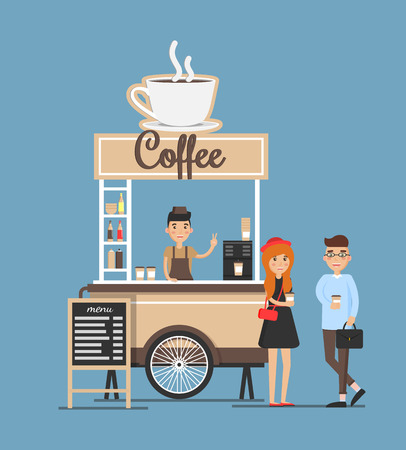 Coffee stand board and seller, customers emotions, warm drinks kiosk cup with hot beverage, counter vector illustration isolated on blue background