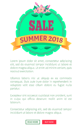 Sale summer 2018 promotional emblem with flower. Seasonal discount round logotype. Low cost commercial tropical style vector web poster place for text Stock Illustratie