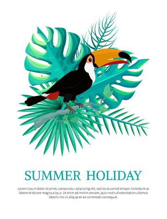 Summer holiday poster text sample and headline, summertime fest, tropical leaves toucan bird, vector illustration isolated on white background Illustration