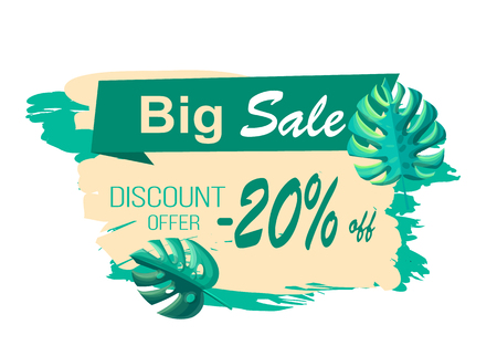 Big Sale and Discount Offer with 20 Off Banner  イラスト・ベクター素材