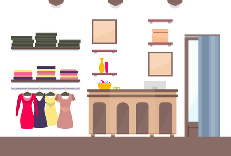 Template of shop varied vogue female clothing vector illustration with pretty dresses at hangers and different accessories on shelves women boutique