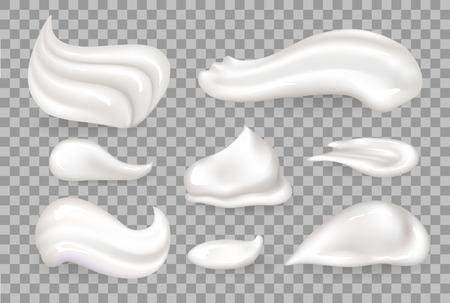 Colección de mousse de crema de sabroso producto batido en base de leche, espuma de vainilla en forma diferente ilustración vectorial aislada sobre fondo transparente