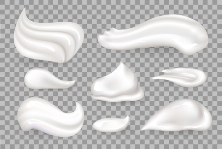 Cream mousse collection of tasty whipped product on milk base, vanilla foam shaped differently vector illustration isolated on transparent background