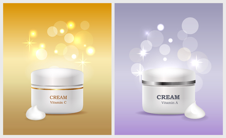 Jars of cream with vitamin A and C promo posters that have shiny glare on background. Cosmetical means for female beauty vector illustrations set. Illusztráció