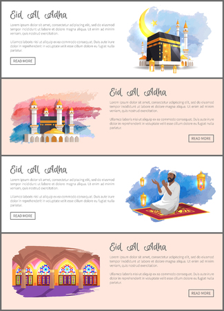Eid Al Adha Ramadan Celebration Colorful Banner Illustration