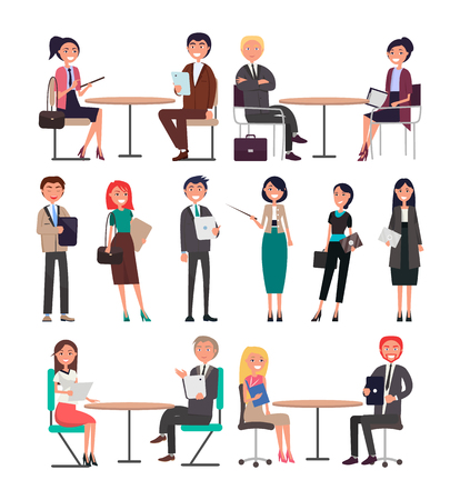 Seminar businesspeople on meeting in good mood working on issues collection, women and men discussing problems, finding solutions vector illustration Illustration
