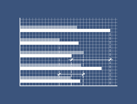 Horizontal bars on minimalistic coordinate system. Special graphic to show statistics on checkered field. Demonstrative graph vector illustration