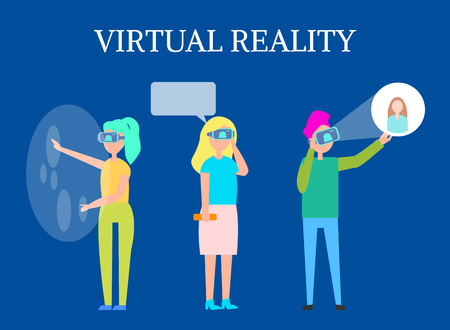 Virtual reality modern interactive technology isolated vector illustration of people in vr glasses using futuristic applications, future innovation