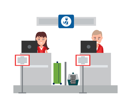 Passport control counter weighing of luggage and checking documents of travellers people at work sitting by computers, isolated on vector illustration Illusztráció