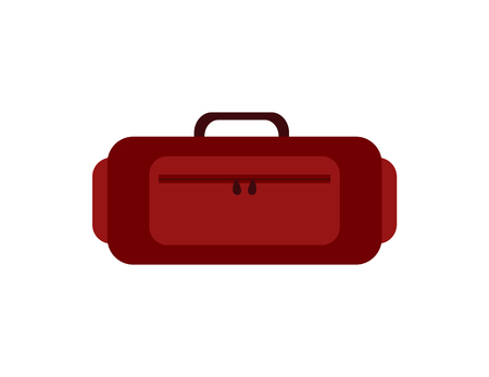Luggage icon red suitcase travelling bag with zipper and handle vector illustration isolated on white. Case for clothes, personal belongings baggage