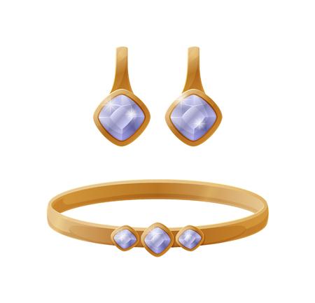 Sieradencollectie oorbel met blauwe edelsteen, gouden armband, elegante accessoires voor rijke dames, vectorillustratie geïsoleerd op een witte achtergrond