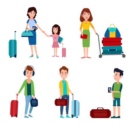 Man and woman in airport people standing in queue waiting for check-in passport control, luggages and bags, collection isolated on vector illustration Illustration