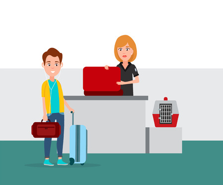 Airport baggage security check by woman, man with headphones standing with bag waiting for scanning, pet case placed on counter, vector illustration