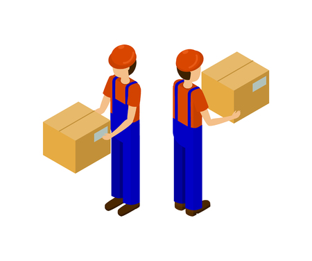 Men with cardboard parcels isolated on white, production line worker. Delivery service man with paper box side view holding big package in hands vector