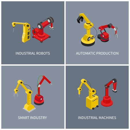 Industrial robots and smart automatic machine set, vector illustration of modern industry that using latest technology to producing various products Vettoriali