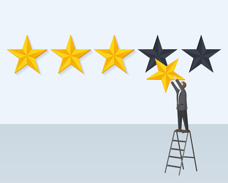 Man hanging rating golden star standing on step-ladder vector illustration of businessman on aluminum climbing ladder isolated on grey background