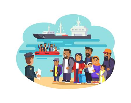 Cheerful Refugees on Sea Beach Vector Illustration