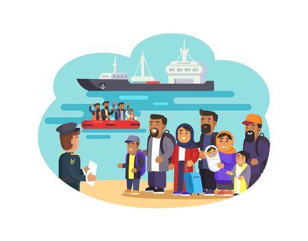 Cheerful Refugees on Sea Beach Vector Illustration