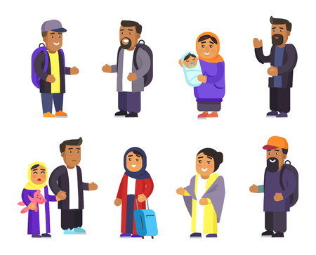 Passengers collection, men with rucksacks and women smiling, family ties, mother holding newborn kid, father daughter muslim people vector illustration