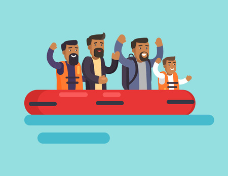 Human on boat for people safety, men happy to escape from danger sitting in rubber item saving lives, refugees with belongings leave native country, vector Stock Vector - 106208896